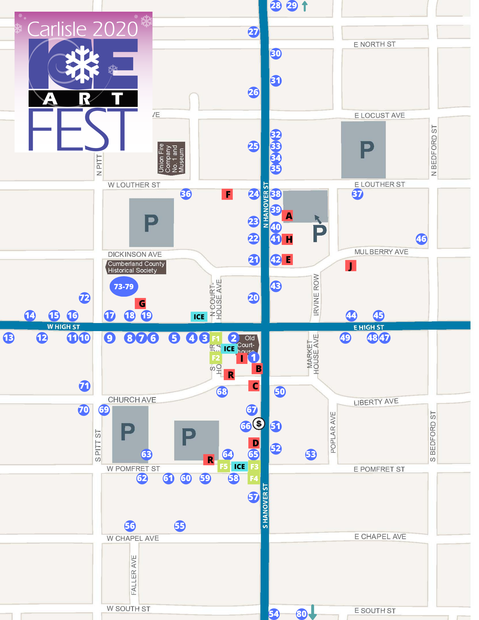 Map of the 2020 UPMC Carlisle Ice Art Fest